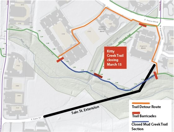 Map showing Mud Creek and Kitty Creek Trail closures and detour route