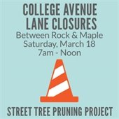College Avenue Lane Closures for Pruning