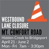 Westbound Mt. Comfort Road Lane Closure for Sidewalk Construction