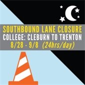 College Ave Lane Closure