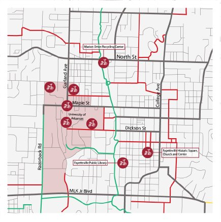 A map of Fayetteville indicating the locations of VeoBike Hubs