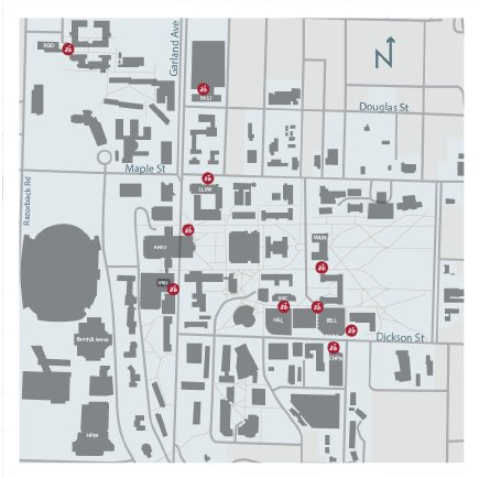 A map of the University of Arkansas Fayetteville campus with locations of VeoBike hubs indicated