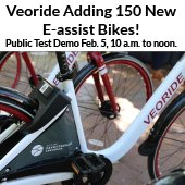 Public Test Demo of Veoride Bikes Tuesday, February 5, 10 a.m. to noon