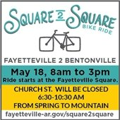 Square to Square Bike Ride May 18, 8 a.m. to 3 p.m.: Church Street closed 6:30 - 10:30 a.m.