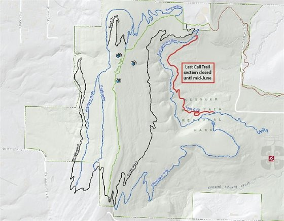 Map highlighting the section of Last Call Trail that is closed.