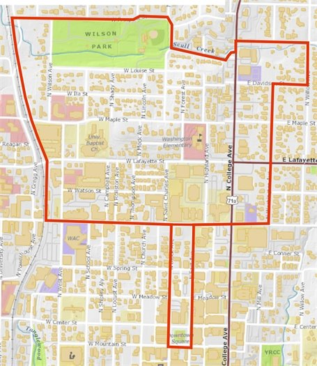 A map of the Fayetteville route for Sunday Slow Streets