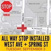 All Way Stop Installed at West Avenue and Spring Street