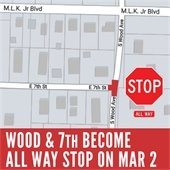 Wood and 7th become all way stop