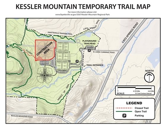 Map showing construction area at Kessler Mt. Park and closed section of trail.