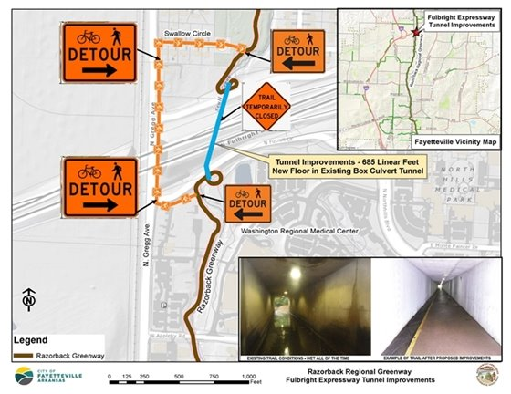 A map showing detour route for Razorback Trail users around Fulbright Expressway tunnel during construction