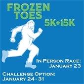Frozen Toes 5K & 15K: In-Person Race Jan. 23, Challenge Option: Jan. 24-31