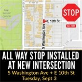 All Way Stop at 10th Street and S Washington Ave