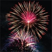 An image of large, bright fireworks in the night sky. Text: Fireworks information and notification of professional displays.