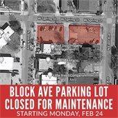 Block Avenue Parking Lot Closed for Maintenance