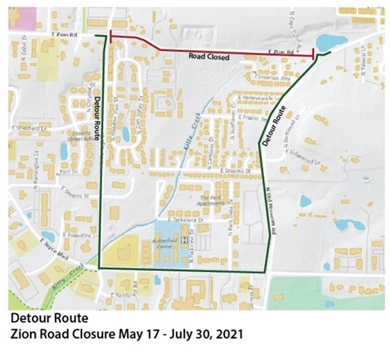 Map of Zion Road closure and detour route.
