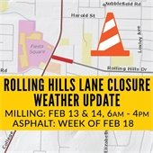 Update to Rolling Hills Drive Milling and Asphalt Overlay Schedule