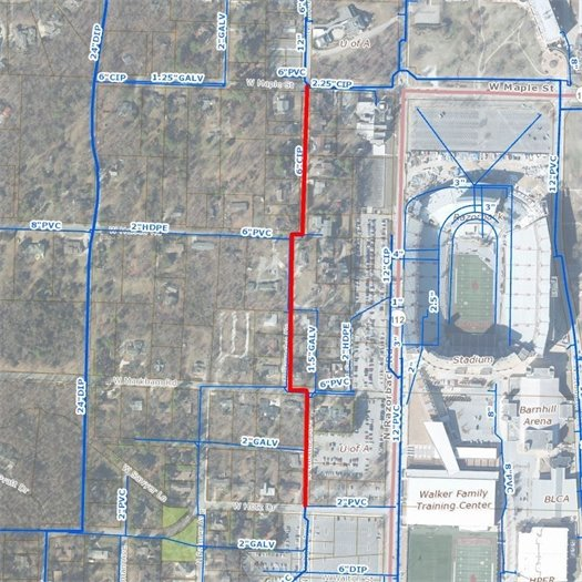 A map of the area to be affected by the Thomas Street utilities installation:  from W. Maple St. to W. Hotz Dr.