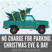 No charge for parking Christmas eve and day