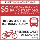 $5 Game Day Parking, Free Razorback Shuttle To/From Dickson Street, and Free Valet Bike Parking
