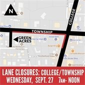 Lane Closures College and Township