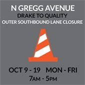 Gregg Ave Lane Closure