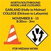 Garland College Lane Closures