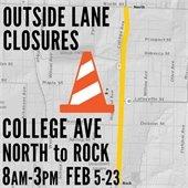 lane closure on college