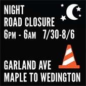 Garland Avenue Closed