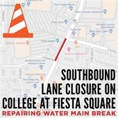 College Ave Lane Closure near Fiesta Square
