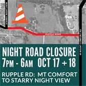 Section of Rupple Road Closed to ALL Traffic Wednesday and Thursday Nights