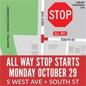 New Stop Signs Turn Intersection of West Avenue and South Street into All Way Stop