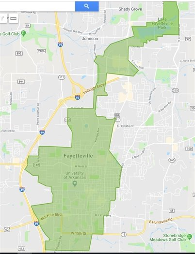 A map of Fayetteville with the VeoRide primary use area marked