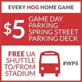 $5 parking and game day shuttle