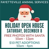Fayetteville Animal Services Hosts Holiday Open House with Santa and $10 Adoptions