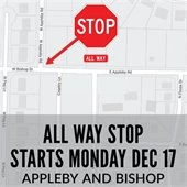 New Stop Signs Create All Way Stop at Appleby Road and Bishop Drive Intersection