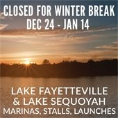 Lake Fayettevile and Lake Sequoyah Closed for Winter Break