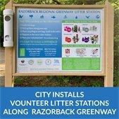 City Installs Volunteer Litter Stations Along Razorback Greenway