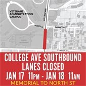 Southbound Lanes on College Avenue Near North Street Closed for Water Main Repair