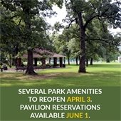 "Photograph of Walker Park pavilion and trees. ""Several Park Amenities to Reopen April 3. Pavilion Reservations Available June 1. """