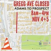 Gregg Avenue Closed