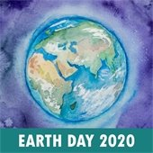 Earth Day 2020 image of watercolor globe
