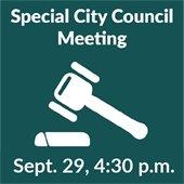 Special City Council Meeting: Sept. 29, 4:30 p.m.