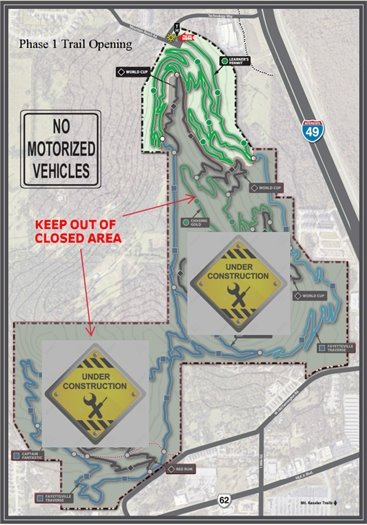 Map of construction areas and open trail at Centennial Park at Millsap Mountain