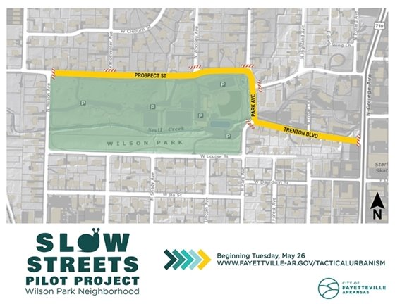 A map showing the streets to be included in the slow streets pilot project around Wilson Park.