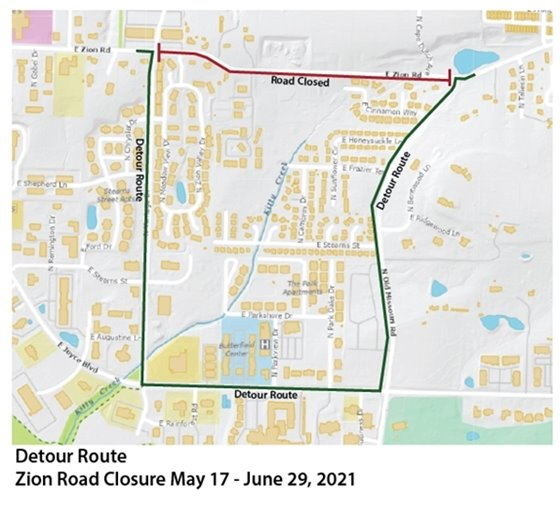 Map showing area of Zion Road closure and detour route