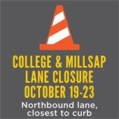 College Avenue Lane Closure