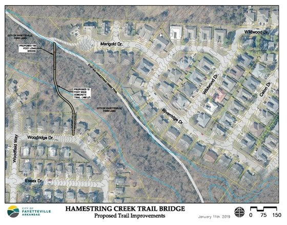 Map showing the future location of the Hamestring Creek Trail Bridge