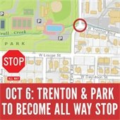 Trenton Boulevard and Park Avenue to Become All Way Stop