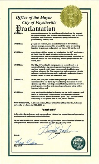 Office of the Mayor, City of Fayetteville, Earth Day Proclamation