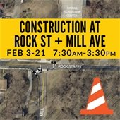 Construction at Rock St and Mill Ave